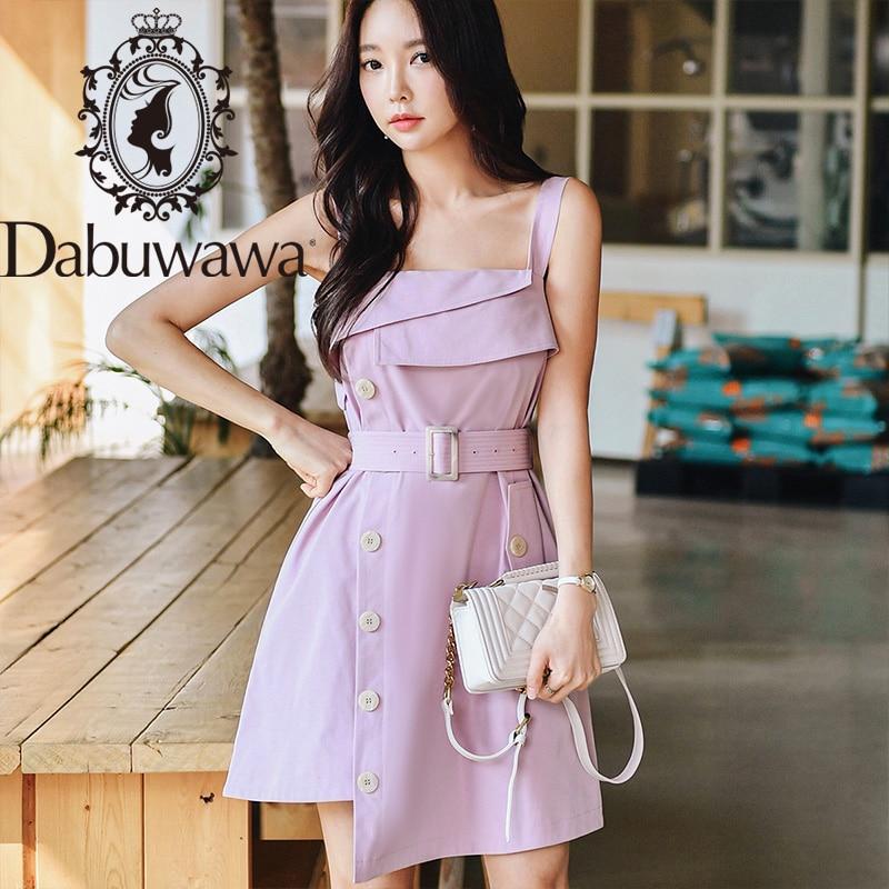 Dabuwawa Solid Split Hem Sexy Strap Dress With Belt Women Sleeveless Asymmetrical Button Side Party Dresses Female DT1BDR011
