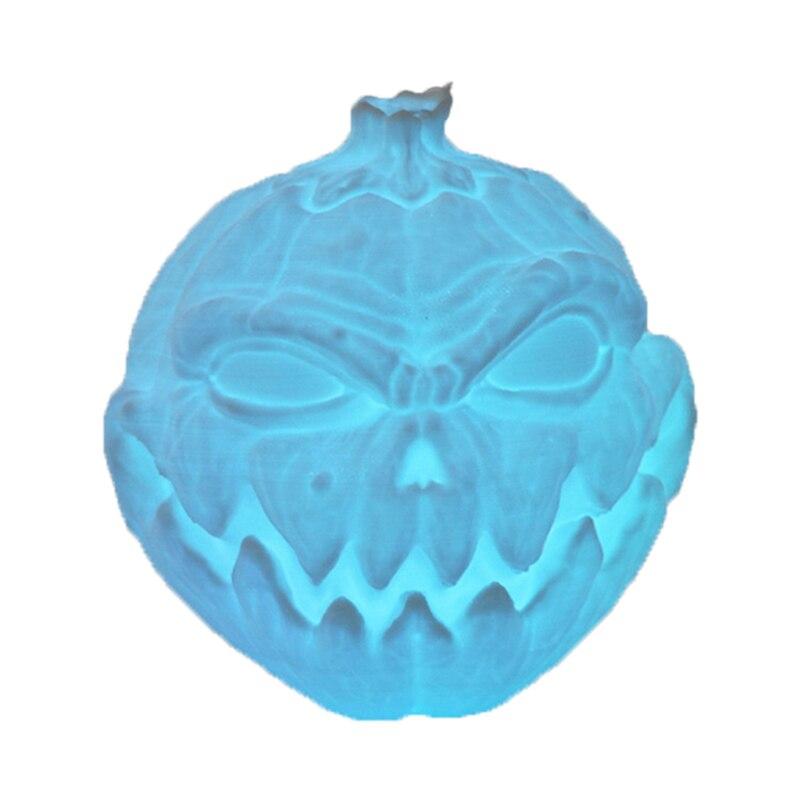 Fashion-USB LED Magical 3D Printed Night Table Light Face Shape Pumpkin Light RGB Desk Lamp with Remote Control Halloween Decora