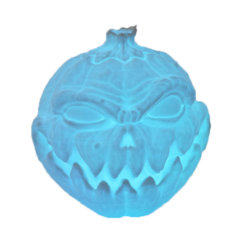Fashion-USB LED Magical 3D Printed Night Table Light Face Shape Pumpkin Light RGB Desk Lamp with Remote Control Halloween Decora image