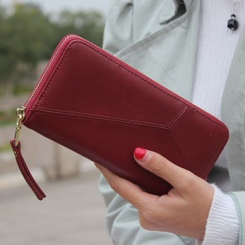 Solid Vintage Women Purse Wristband Long Ladies Wallet Phone Clutch Zipper Pu Leather Red