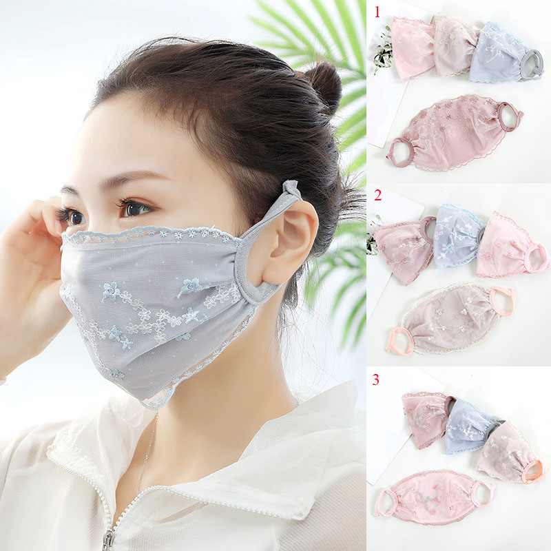 Women Lace Embroidery Floral Printed Mask Blue Pink Dust Mask Mouth Face Masks Anti-fog Mouth Mask Unisex Travel Protection
