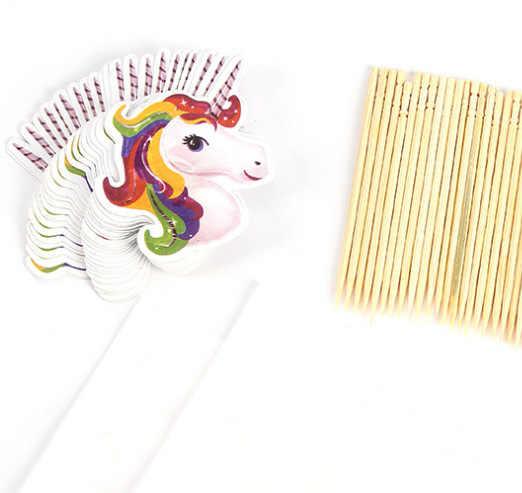 24 шт красочные мультфильм в форме единорога кекс Insert Вставка карты с зубочисткой свадебные подарки на день рождения украшения торта