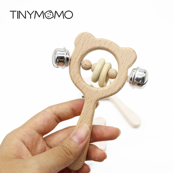 Baby Wooden Rattle Toys Beech Bear Hand Teething Wooden Ring Baby Rattles Play Gym Montessori Stroller Toy Educational Toys baby wooden teether toys rattle nursing bracelet animal bear musical rattle newborn montessori educational stroller toy play gym