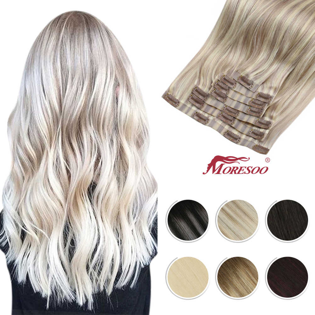 Moresoo Seamless PU Clip in Hair Extensions 16-24 inch Human Hair Straight Machine Remy Brazilian 7PC 100G Natural Invisible