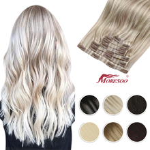 Moresoo Seamless PU Clip in Human Hair Extensions 14-22 inch Hair Straight Machine Remy Brazilian 7PC 100G Natural Invisible