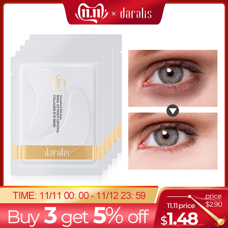 5Pack=10Pcs Snail Crystal Collagen Eye Mask Eyes Patches Under The Eyes Dark Circles Masks Remove Eye Bag Gel Young Wrinkle HOT