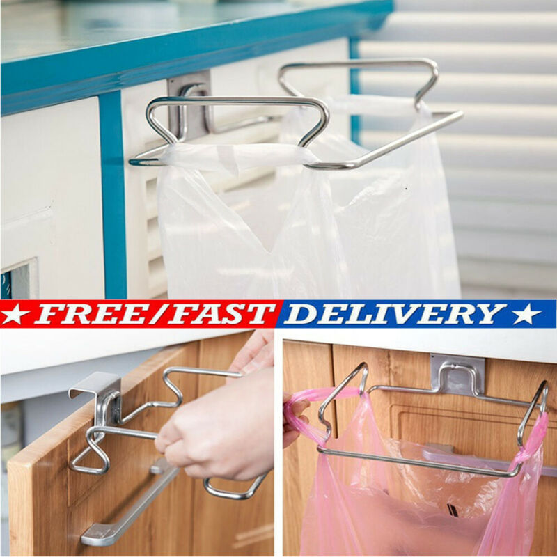 Stainless Steel Kitchen Trash Bag Holder Door Hook Garbage Bags Hanger Support Door Back Type Garbage Bag Hook image