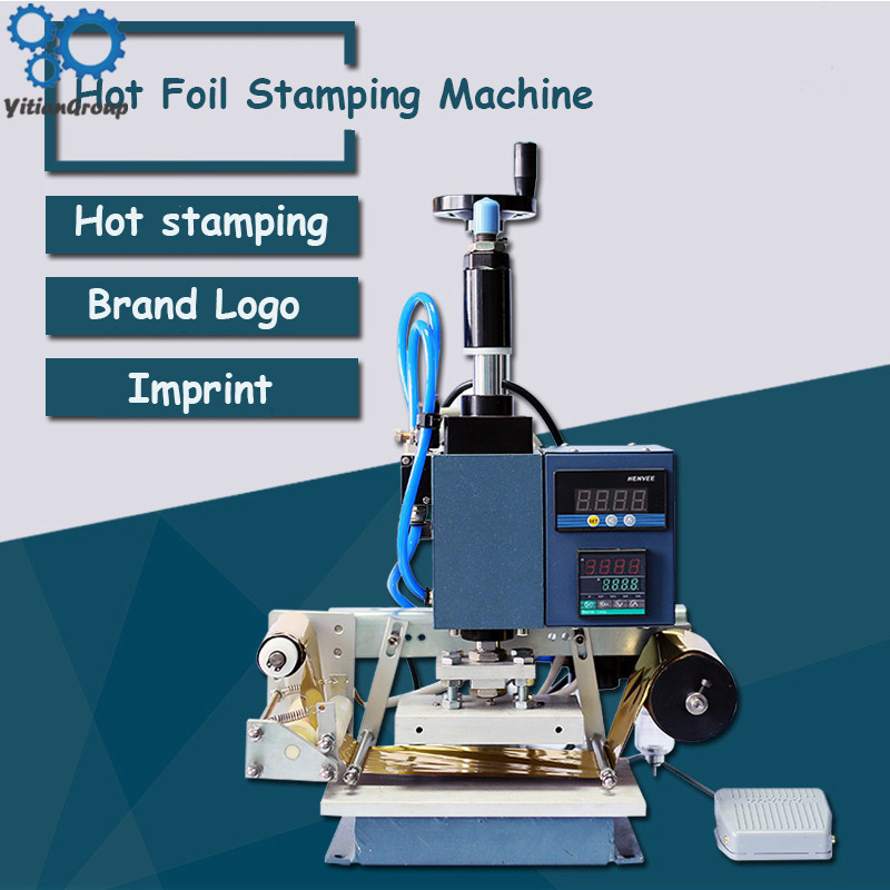 WT-QS90 Bronzing Machine Pneumatic Hot Foil Stamping Machine Leather Wood Furniture Album Heat Press Machine Gilding Press