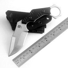 KKWOLF karambit شفرة مثبتة سكين صلابة عالية AUS 8 الفولاذ في الهواء الطلق سكين صيد أسود G10 EDC التخييم أدوات تكتيكية لحفظ الحياة أدوات