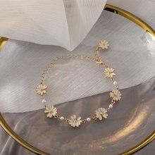 Moda doce branco margarida pulseiras colar personalidade pérola metal minimalista crisântemo pulseira para presente de jóias femininas