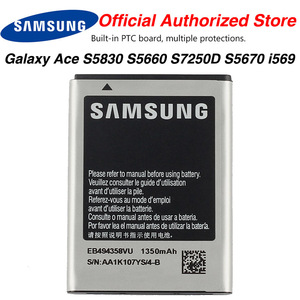 Original Samsung High Quality EB494358VU Battery For Samsung Galaxy Ace S5830 S5660 S7250D S5670 i569 GT-S6102 S6818 1350MAh