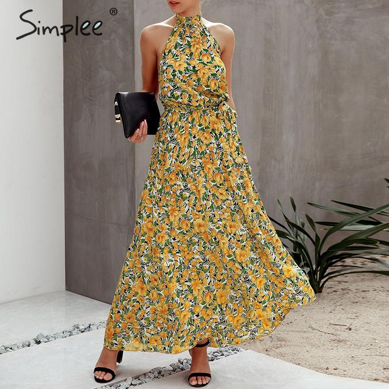 Simplee Floral Print Women Dress Plus Size Sleeveless Belt High Waist Boho Maxi Dress Casual Holiday Fashion Party Summer Dress