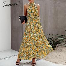 Simplee Floral print women dress Plus size sleeveless belt high waist boho maxi