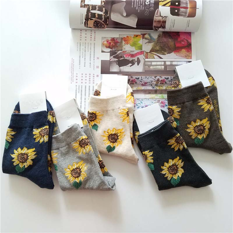 2020Korean Style Women Sunflower Short Socks Creative Art Harajuku Japanese Socks High Quality Cotton Tide Sox Flower Socks Cool