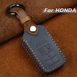 5Button Leather Car Key Cover Case Holder For Honda Accord Civic CRV  Xrv Crider Vezel Jade Spirior 2015 2016 2017 Accessories