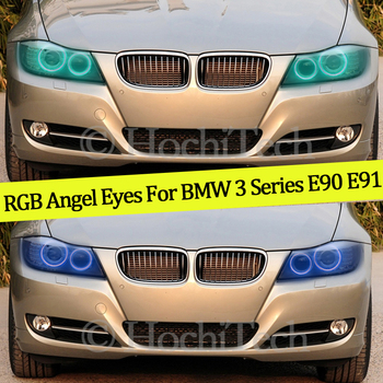 4PCS Multi-color RGB Changeable LED SMD Halo Ring Angel Demon Eyes Day Light For BMW 3 Series E90 E91 2005-2008 Xenon headlights image