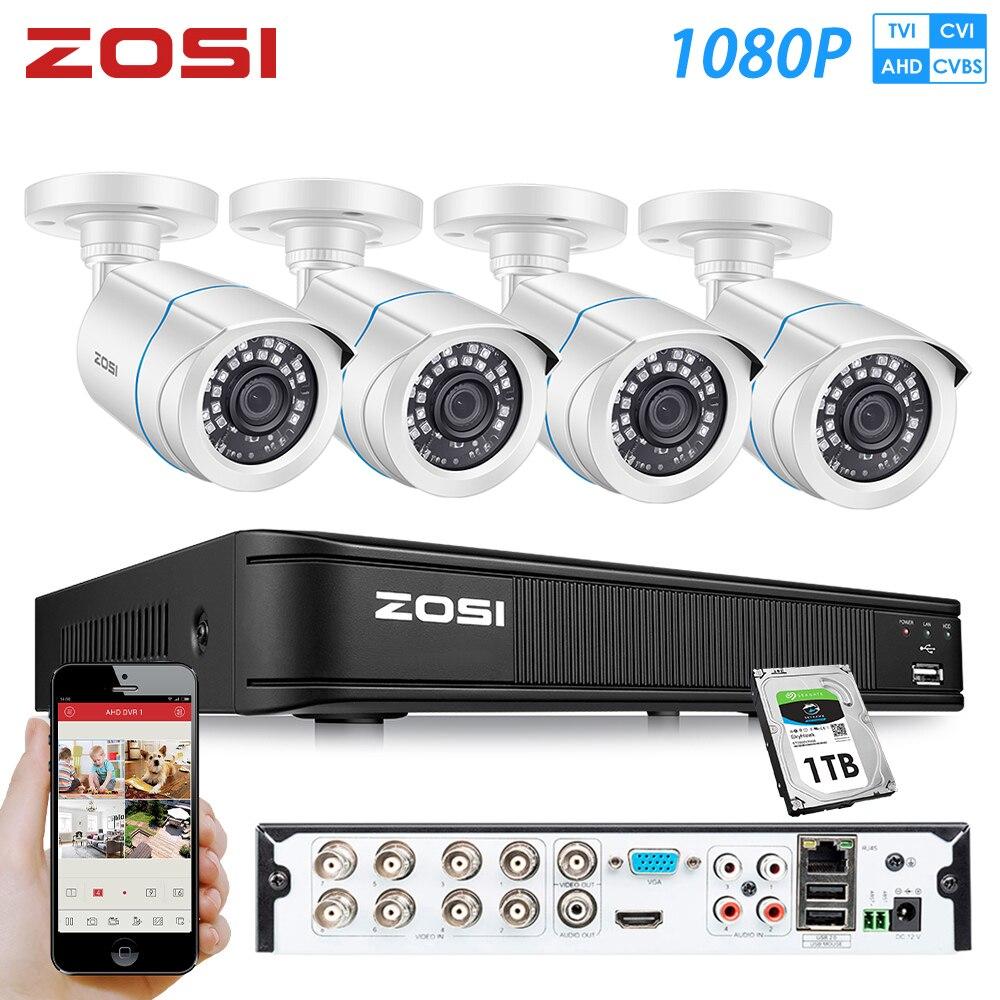ZOSI 8 Kanal 1080P AHD IR CMOS Motion Sensor Schwarz Nightvision Video CCTV Kamera Sicherheit System Überwachung DVR Kit 1 HDD