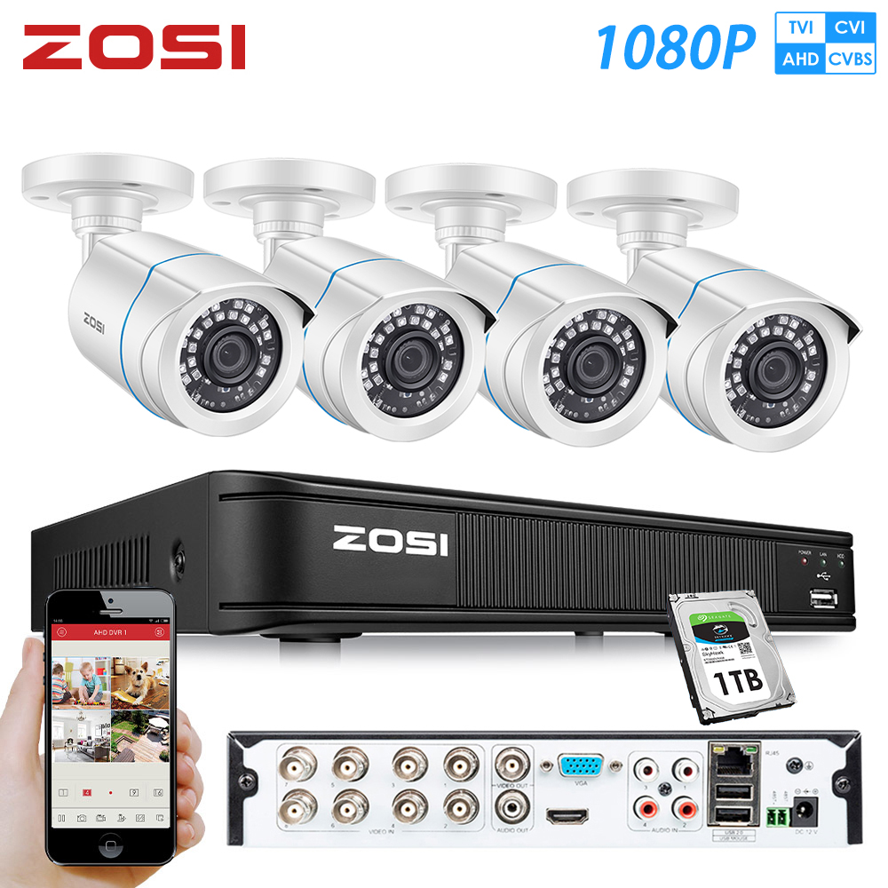 ZOSI 8 Channel 1080P AHD IR CMOS Motion Sensor Black Nightvision Video CCTV Camera Security System Surveillance DVR Kit 1 HDDsurveillance kitzosi 8chsystem surveillance -