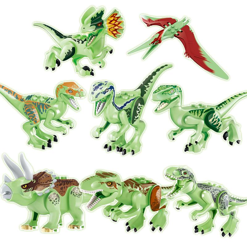 Transparent Luminous Building Blocks Dinosaur World Tyrannosaurus Models Toys For Children Birthday Gift Compatible Animal Block