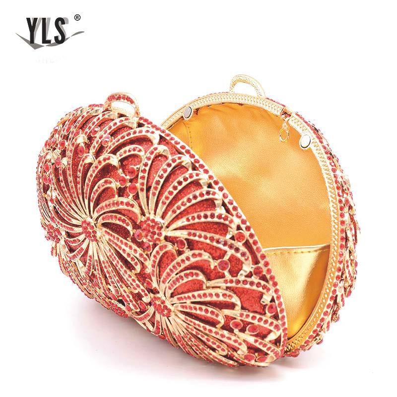 Dames embrayages en gros femmes luxe diamant boîte de soirée strass pochette et sacs de soirée avec chaîne - 2