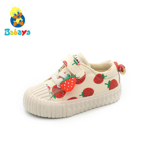 Image 2 - 아기 신발 1 3 세 소프트 솔리드 캔버스 신발 딸기 신발 유아 신발 소녀 신발 2019 가을 새로운