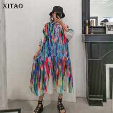 XITAOพิมพ์ชุดMaxi PLUSขนาดเสื้อผ้าผู้หญิงเสื้อแขนสั้นTurn Downแฟชั่น 2019 ใหม่WBB4072