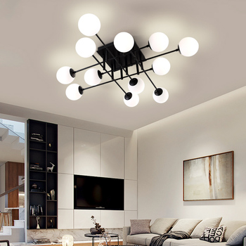 MDWELL Milk Glass Ceiling Light Modern Ceiling Lamp Living Room Lighting Fixture Bedroom Surface Mount E27 Bulb ceiling lights