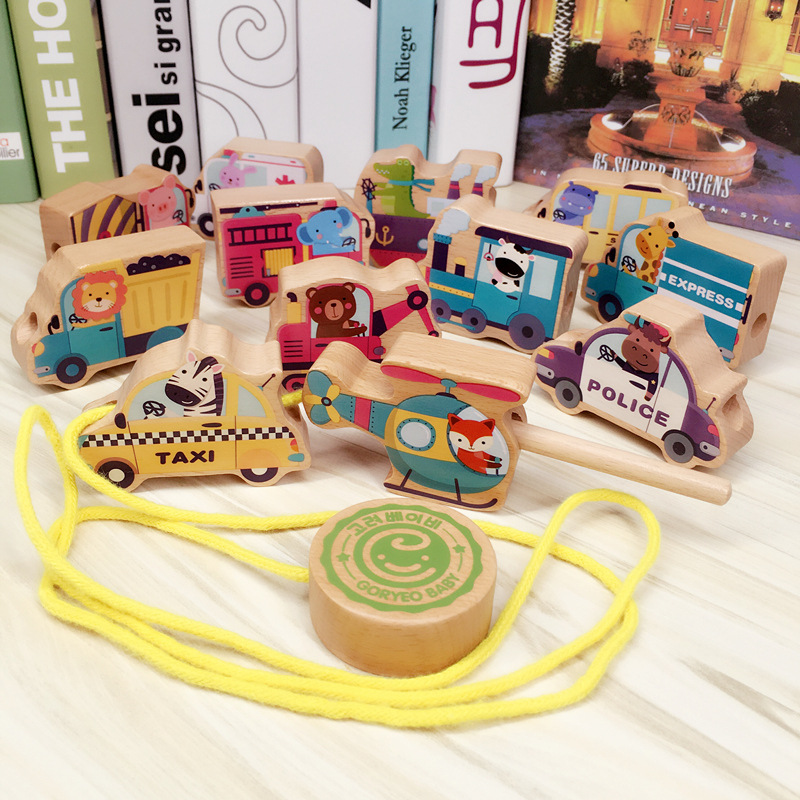 Goryeobaby Wooden Children Large Particles Building Blocks Traffic Scene Threading Car String Building Blocks Rope Beaded Bracel