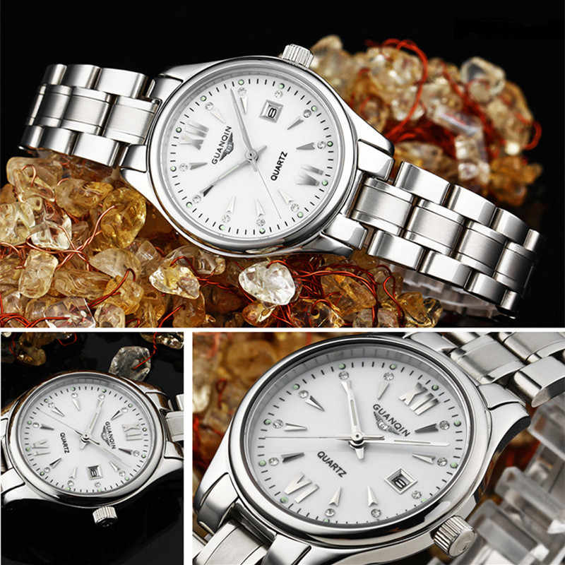 GUANQIN ゴールド女性腕時計ラグジュアリーブランドレディースクォーツ Watchs 防水ドレス女性の腕時計スチール時計 Montre ファム 2019