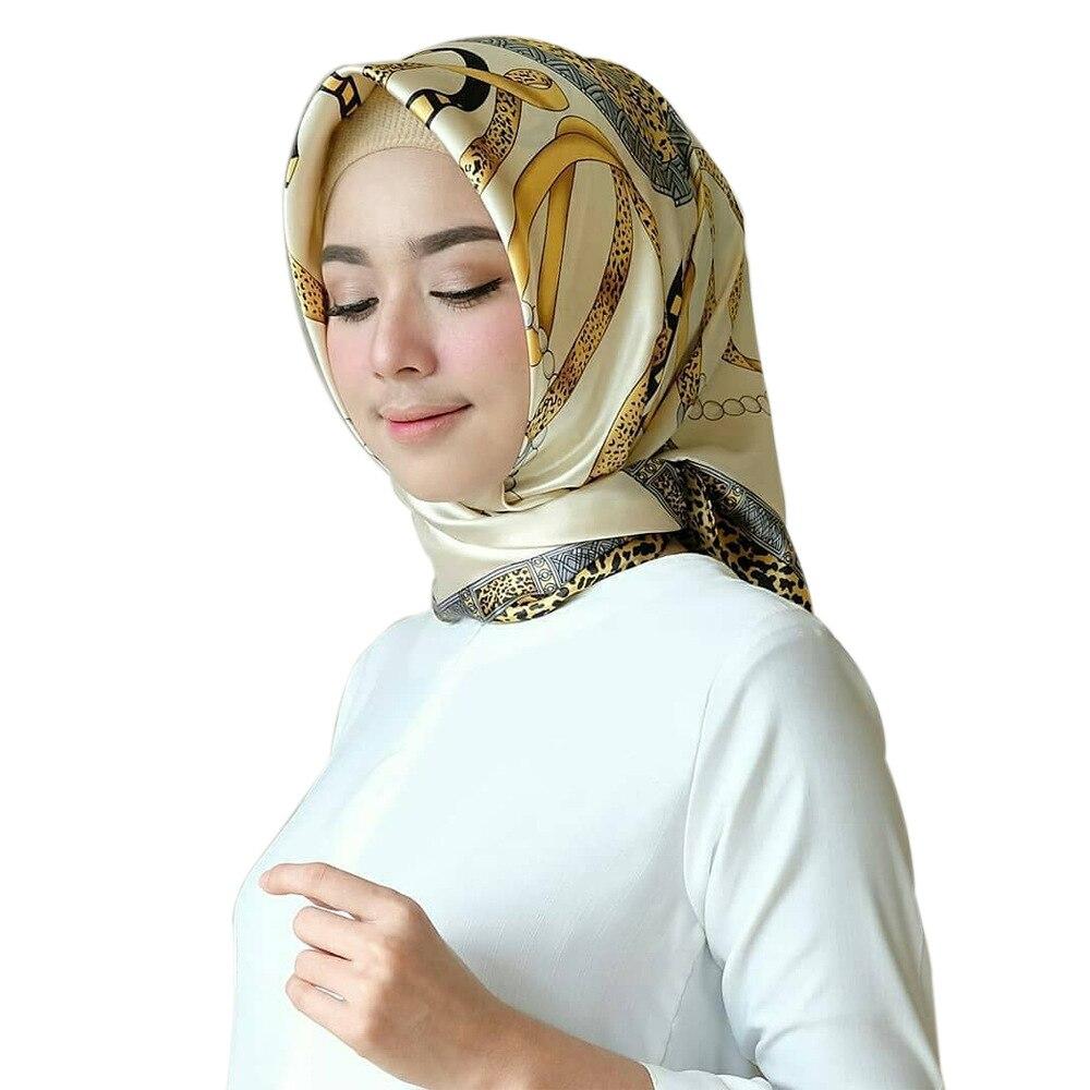 Women Fashion Scarf Leopard Grain Chain Kerchief Shawls Headband Muslim Scarves Women Scarf