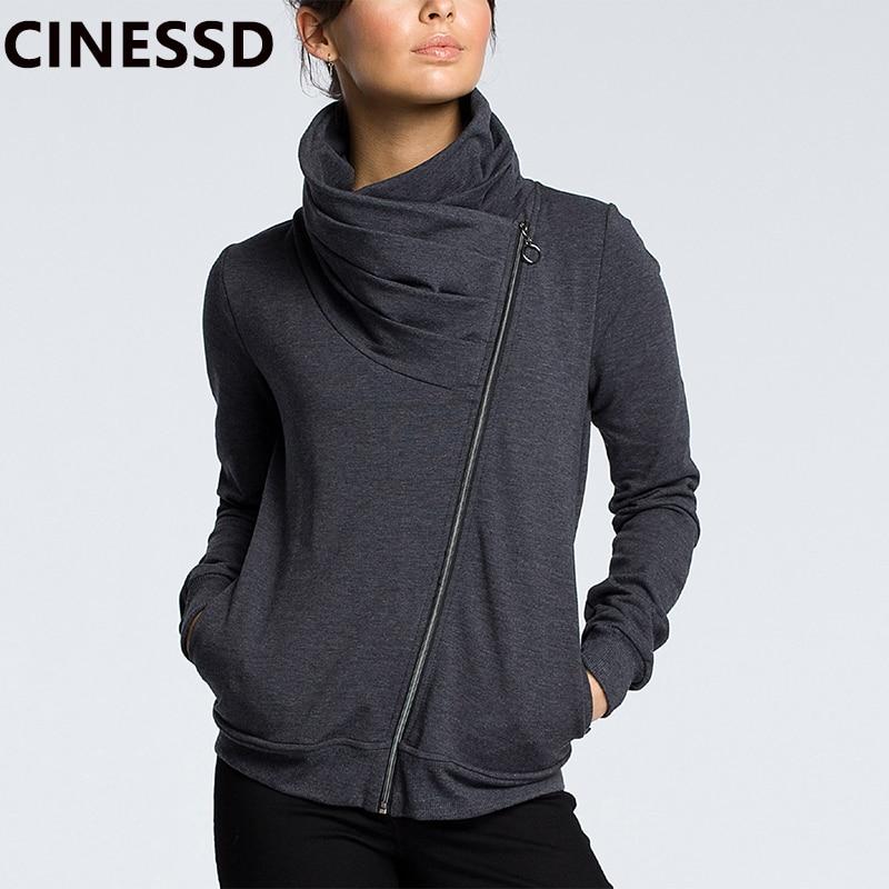 CINESSD 2019 осенне-зимнее пальто, куртка для женщин, отложной воротник, длинный рукав, молния, кардиган, повседневные толстовки, Толстовка С Карм...