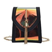 Women Mini Bags Laser Brand Design Handbags Waterproof Beach Bag Small Shoulder Clear Transparent PU Composite