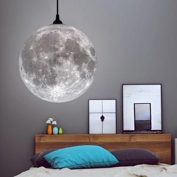 цена 3D Print Pendant Moon Lights Novelty Creative Moon Atmosphere Night Light Lamp Restaurant/Bar Hanging Lighting Pendant Lamp онлайн в 2017 году