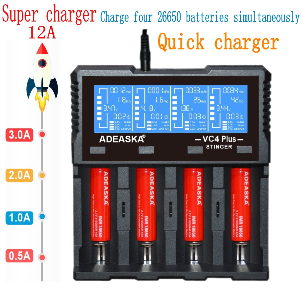 ADEASKA VC4 PLUS LCD Display USB Rapid Intelligent Charger For Li-ion IMR LiFePO4 Ni-MH Battery PK VP4 PLUS