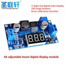 DC-DC o impulso de digitas xl6009 intensifica o módulo ajustável da fonte de alimentação 4.5-32v a 5-52v intensifica o regulador de tensão com voltímetro do diodo emissor de luz