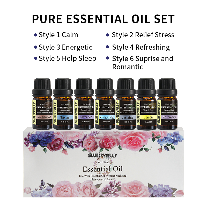 6 Style Essential Oil Set 10ml Water Solution Natural Plant Aromatherapy Relaxing Fragrance Oil For Car Air Humidifier Freshener