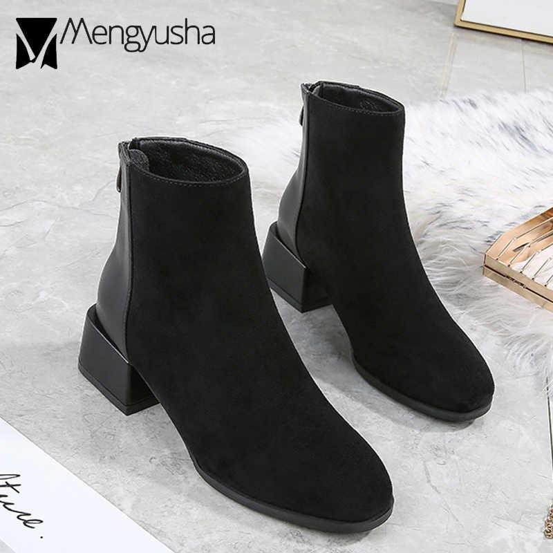 Sang trọng Giày Mùa Đông Giày Nữ Miếng Dán Cường Lực Martib Giày Dây Kéo Vuông Cóc Nữ Chelsea Botas Giả Da Lộn & Da PU Cổ Chân bota