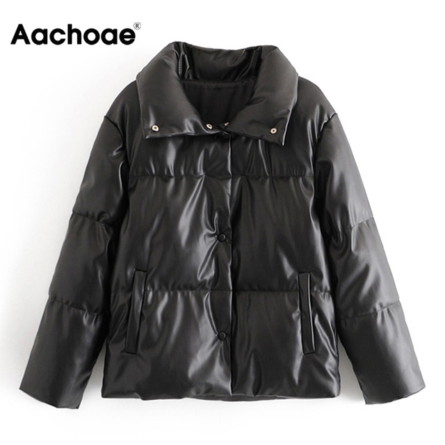Women PU Leather Parkas Fashion High Street Solid Faxu Leather Coats Elegant Winter Thick Cotton Jackets Loose Outerwear 5