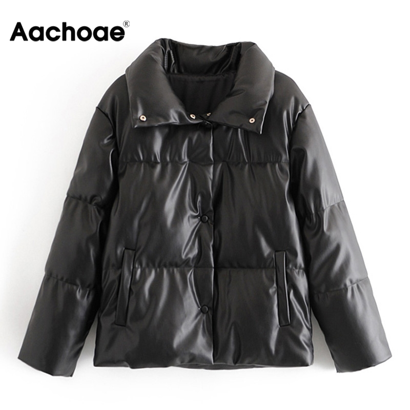 Women PU Leather Parkas Fashion High Street Solid Faxu Leather Coats Elegant Winter Thick Cotton Jackets Loose Outerwear