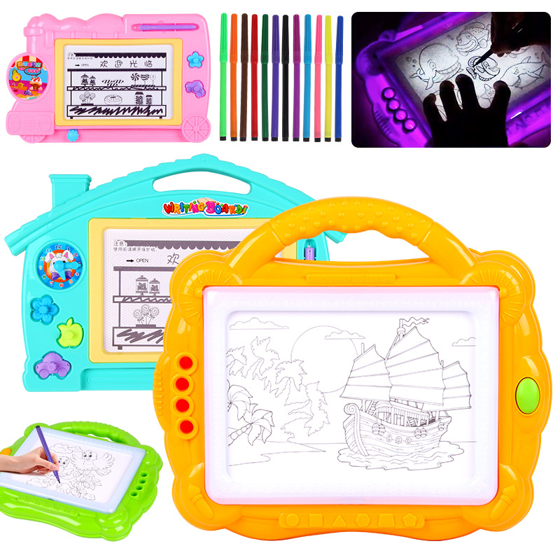Children WordPad Small Blackboard Color Painted Sketchpad Magnetic Backlight Light Doodle Board Learning Educational Handwriting