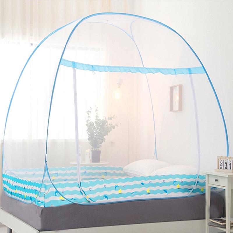 Vouwen Klamboe Voor Enkele Dubbele Bed Draagbare Netting Muskietennetten Voor Zomer Mongoolse Yurt Netto Voor Kinderen Gratis Verzending-in Klamboe van Huis & Tuin op  Groep 1