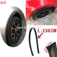 2 pçs 150cm roda sobrancelhas carro sobrancelha roda de borracha macia sobrancelha cor preta pneu decoração tira apto para focus3 vw