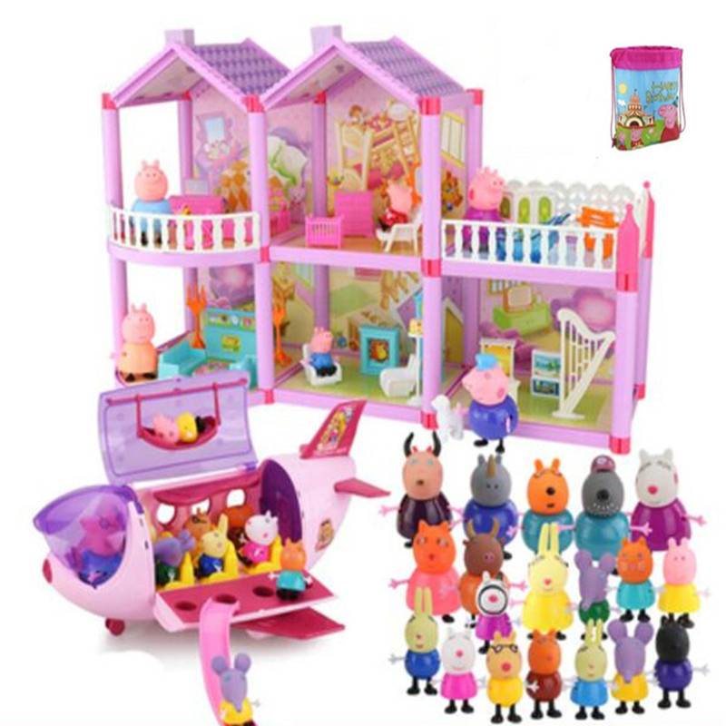Fashion Peppa Pig Series Educational Kids Toys Luxury Villa Aircraft Set Family Full Roles Model Action Figure Children Gifts