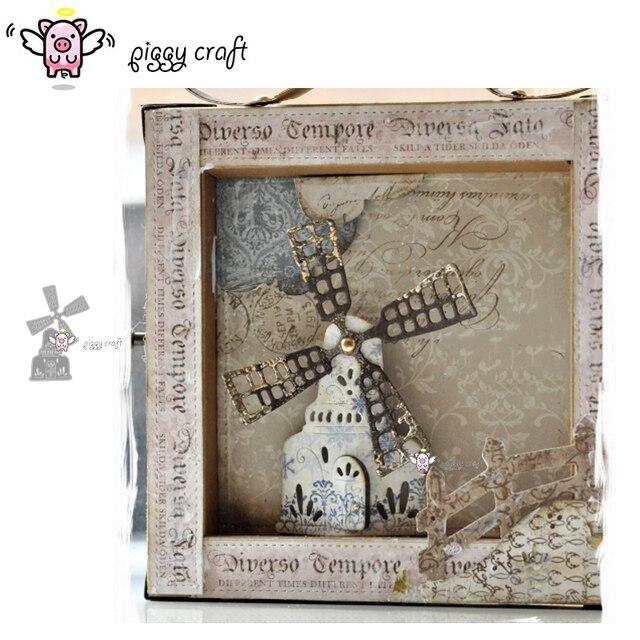 Piggy Craft do cięcia metalu umiera cięcia formy zamek wiatrak dom papier do notatnika craft nóż formy ostrze wykrojniki szablony umiera