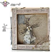 Piggy Craft troqueles de corte de metal, molde de troquelado, molino de viento, casa, álbum de recortes, papel, cuchillo, hoja, plantilla de perforación, troqueles