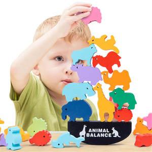 Wood Toy Blocks Board-Games Montessori Animal-Balance Educational-Stacking High-Building-Block