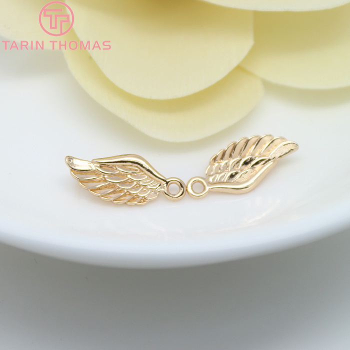 10PCS 16x7MM 24K Champagne Gold Color Plated Brass Angel Wings Charms High Quality Diy Jewelry Accessories