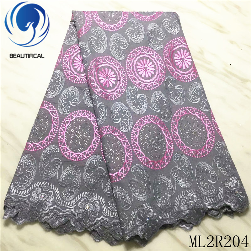 BEAUTIFICAL Nigerian lace fabrics Latest style embroidery cotton dry lace fabric 5yards african voile lace for dress ML2R204