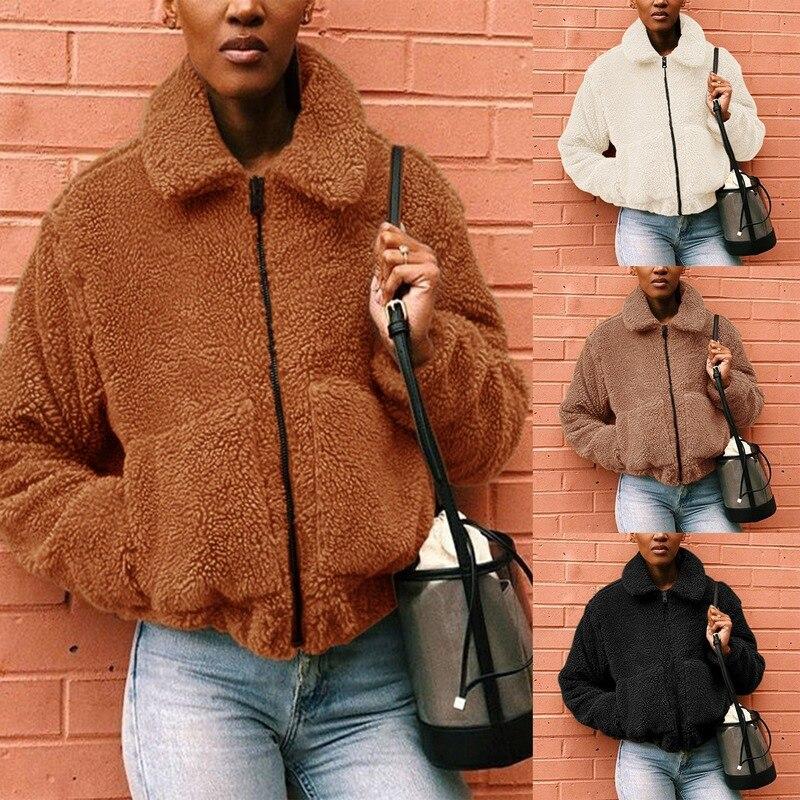 Women Faux Fur Jacket Spring Winter Short Fashion Slim Furry Coats Women's Clothing Crop Short Winter Coat Ropa Invierno Mujer