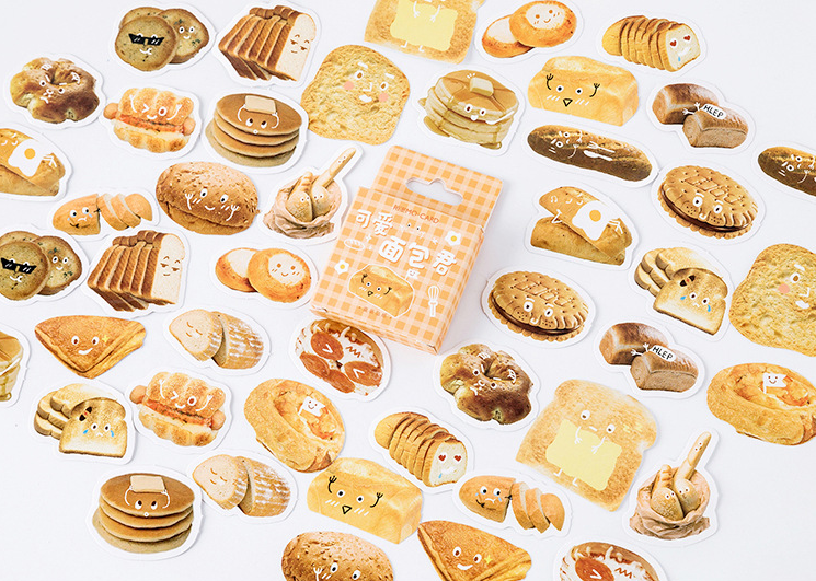 S65- Lovely Bread Diy Decorative Stickers(1pack=46pieces)